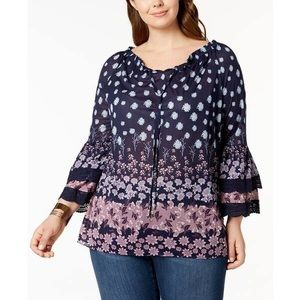 Style & Co Boho Peasant Tiered Bell Sleeve Top
